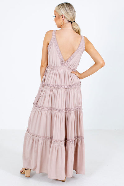 Women's Pink Open Back Boutique Maxi Dress