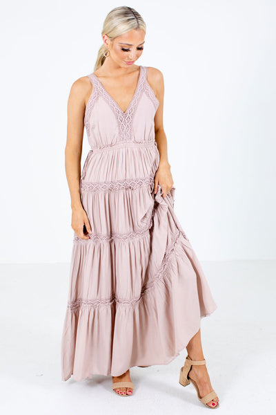Pink V-Neckline Boutique Maxi Dresses for Women
