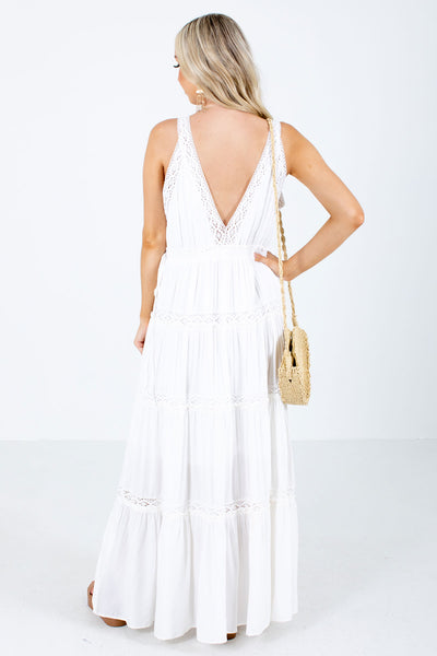White Crochet Lace Detailed Boutique Maxi Dresses for Women