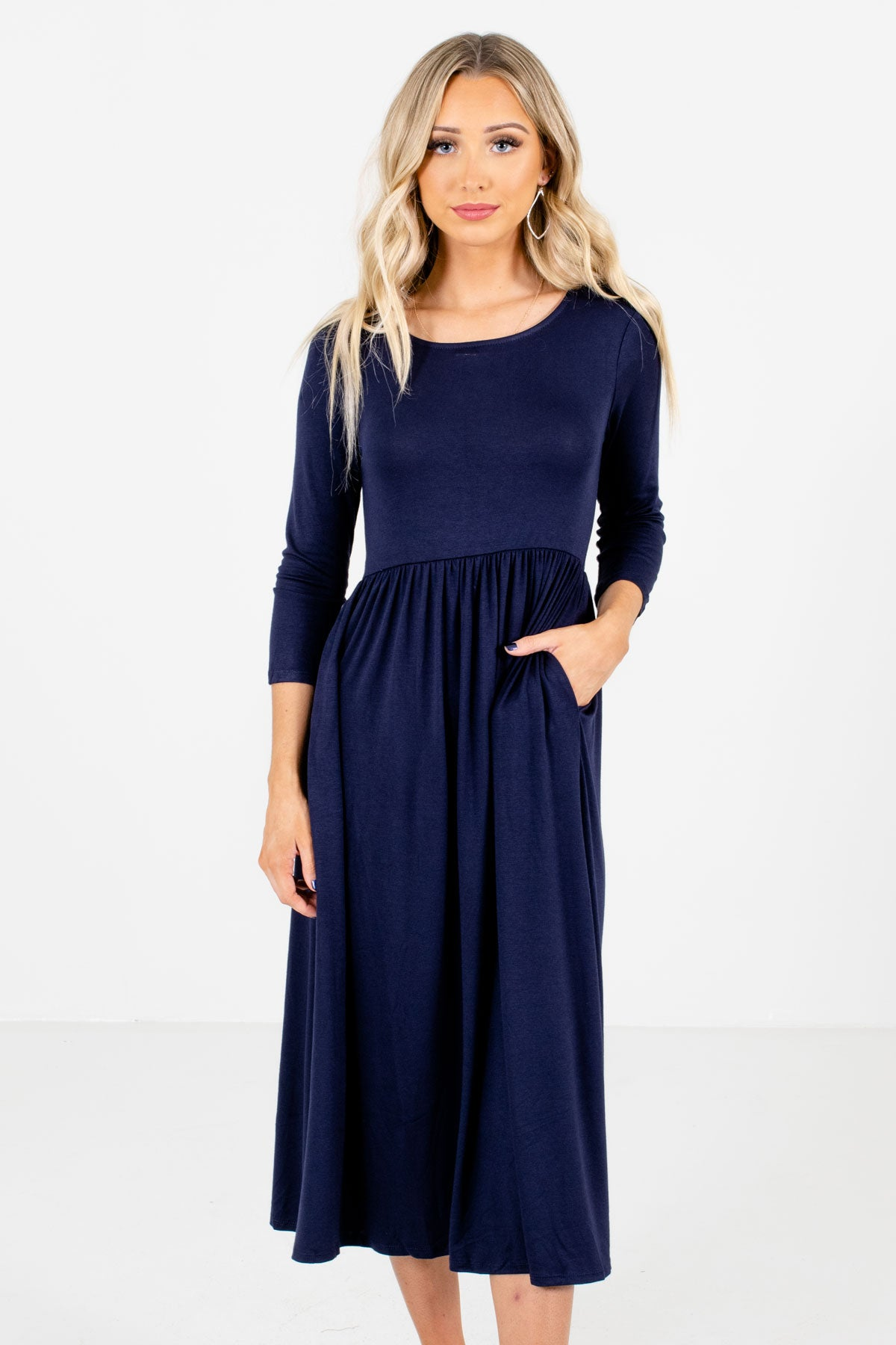 Navy Blue ¾ Length Sleeve Boutique Midi Dresses for Women
