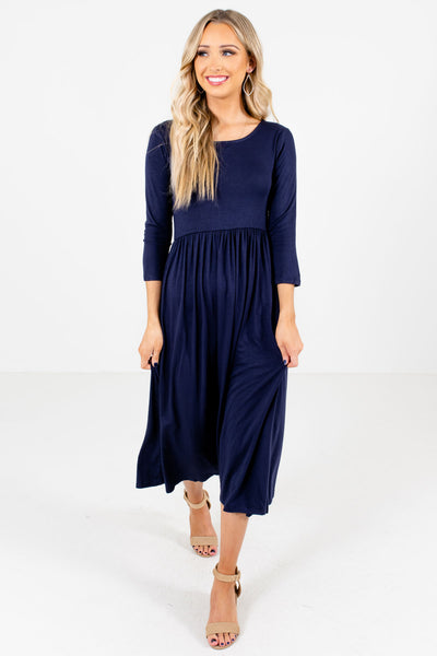 Navy Blue Boutique Midi Dresses with Pockets for Women