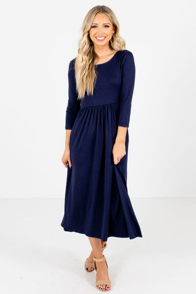 Navy Blue Cute and Comfortable Boutique Midi Dresses for Women