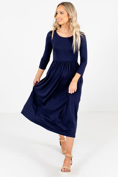 Women's Navy Blue High-Quality Material Boutique Midi Dress