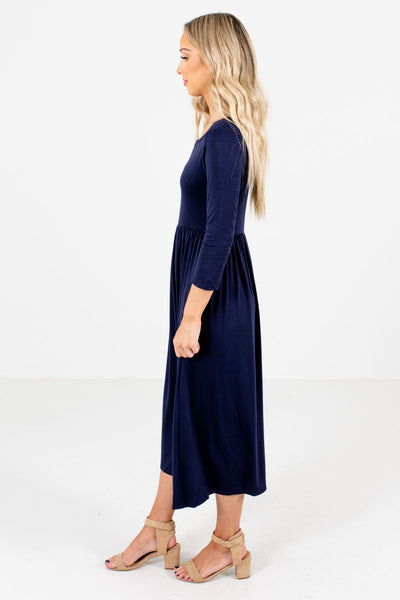 Women's Navy Blue Round Neckline Boutique Midi Dress