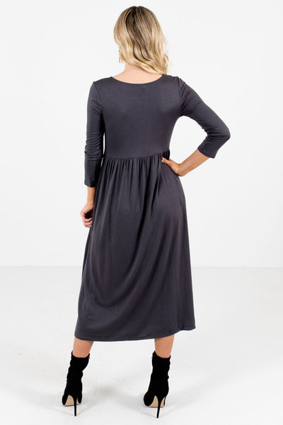 Women's Gray Round Neckline Boutique Midi Dress