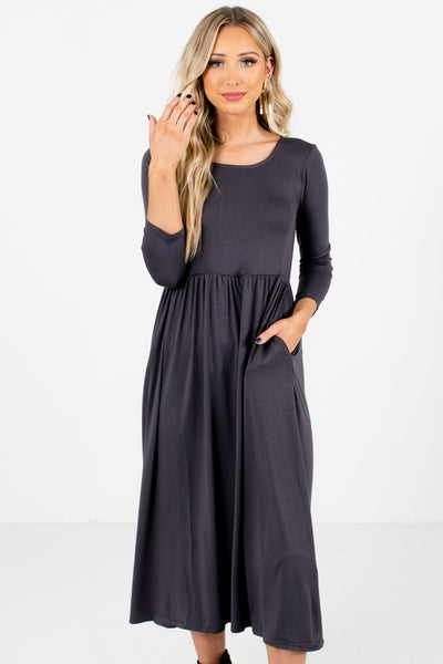 Gray ¾ Length Sleeve Boutique Midi Dresses for Women