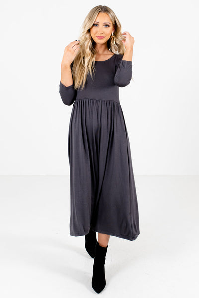 Gray Cute and Comfortable Boutique Midi Dresses for Women