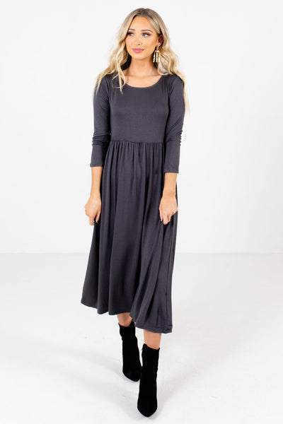 Women's Gray Flowy Silhouette Boutique Midi Dress