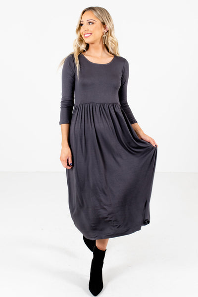 Women's Gray High-Quality Material Boutique Midi Dress