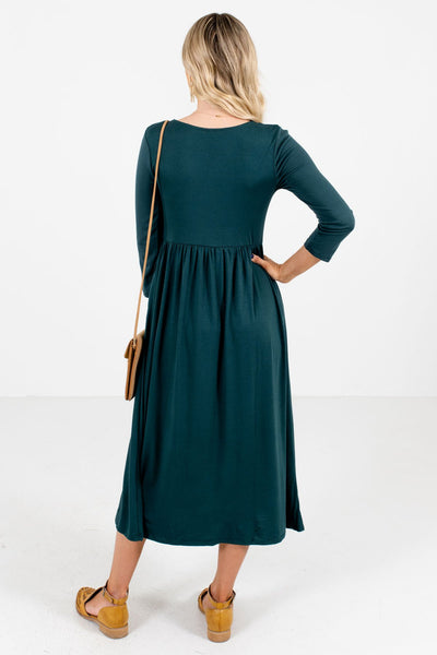 Women's Teal Green Round Neckline Boutique Midi Dress