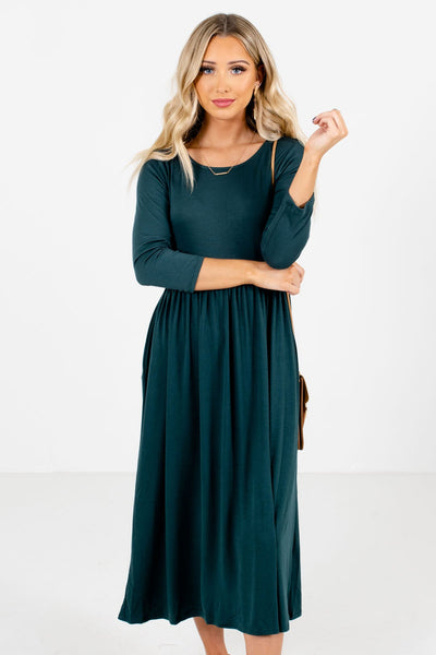 Women's Teal Green High-Quality Material Boutique Midi Dress
