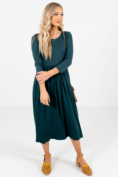 Teal Green Cute and Comfortable Boutique Midi Dresses for Women