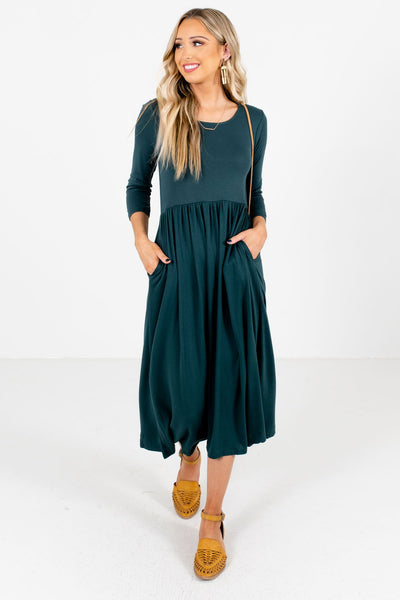 Teal Green ¾ Length Sleeve Boutique Midi Dresses for Women