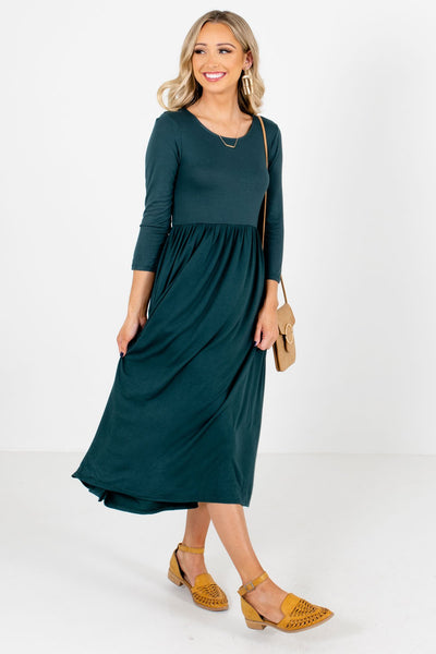 Women's Teal Green Flowy Silhouette Boutique Midi Dress