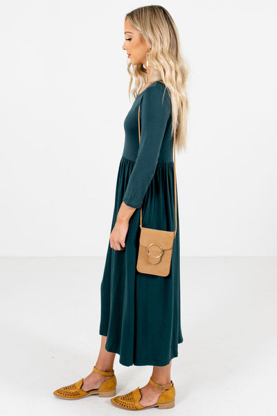 Teal Green Boutique Midi Dresses with Pockets for Women