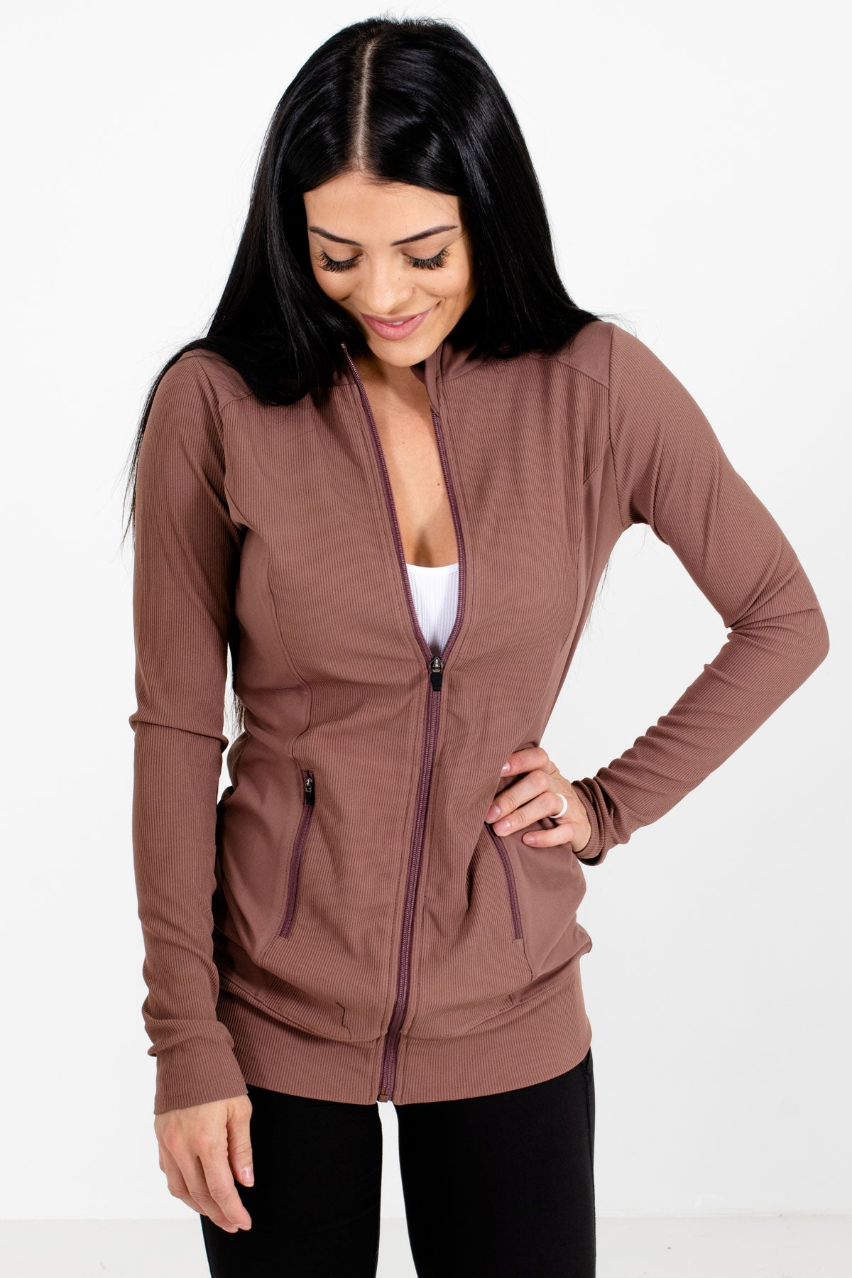 Mauve High-Quality Ribbed Material Boutique Active Jackets for Women