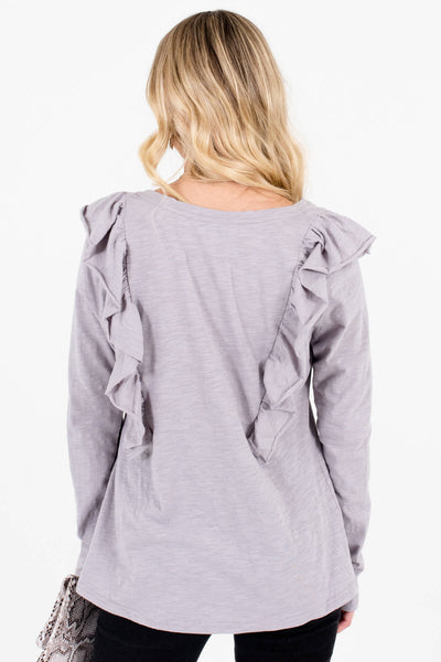 Women's Light Slate Gray Long Sleeve Boutique Tops