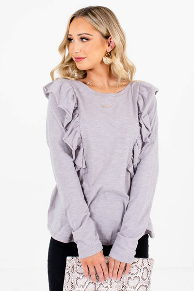 Women's Light Slate Gray Round Neckline Boutique Tops