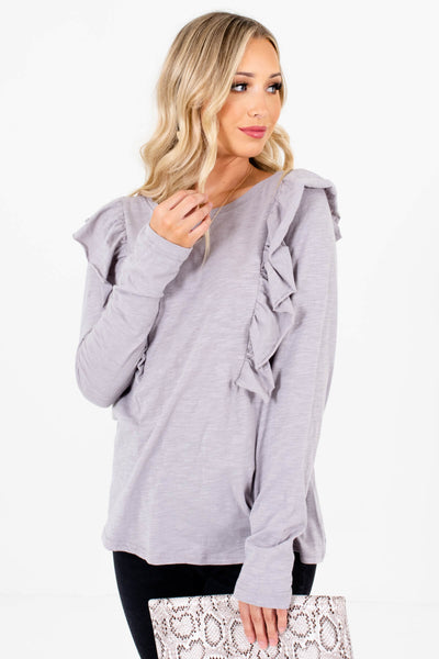 Women's Light Slate Gray Casual Everyday Boutique Tops