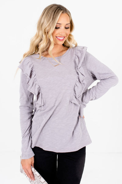 Light Slate Gray Ruffled Accented Boutique Tops for Women