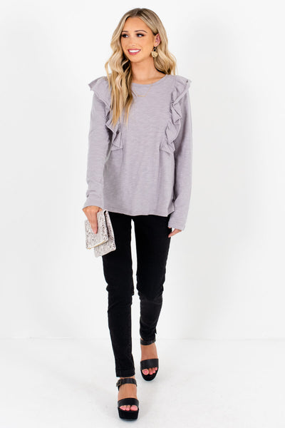 Light Slate Gray Relaxed Fit Boutique Long Sleeve Tops for Women
