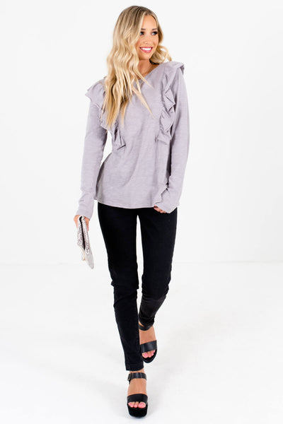 Light Slate Gray Cute and Comfortable Boutique Tops for Women
