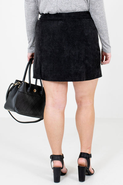 Women's Black Scalloped Button-Up Front Boutique Mini Skirt