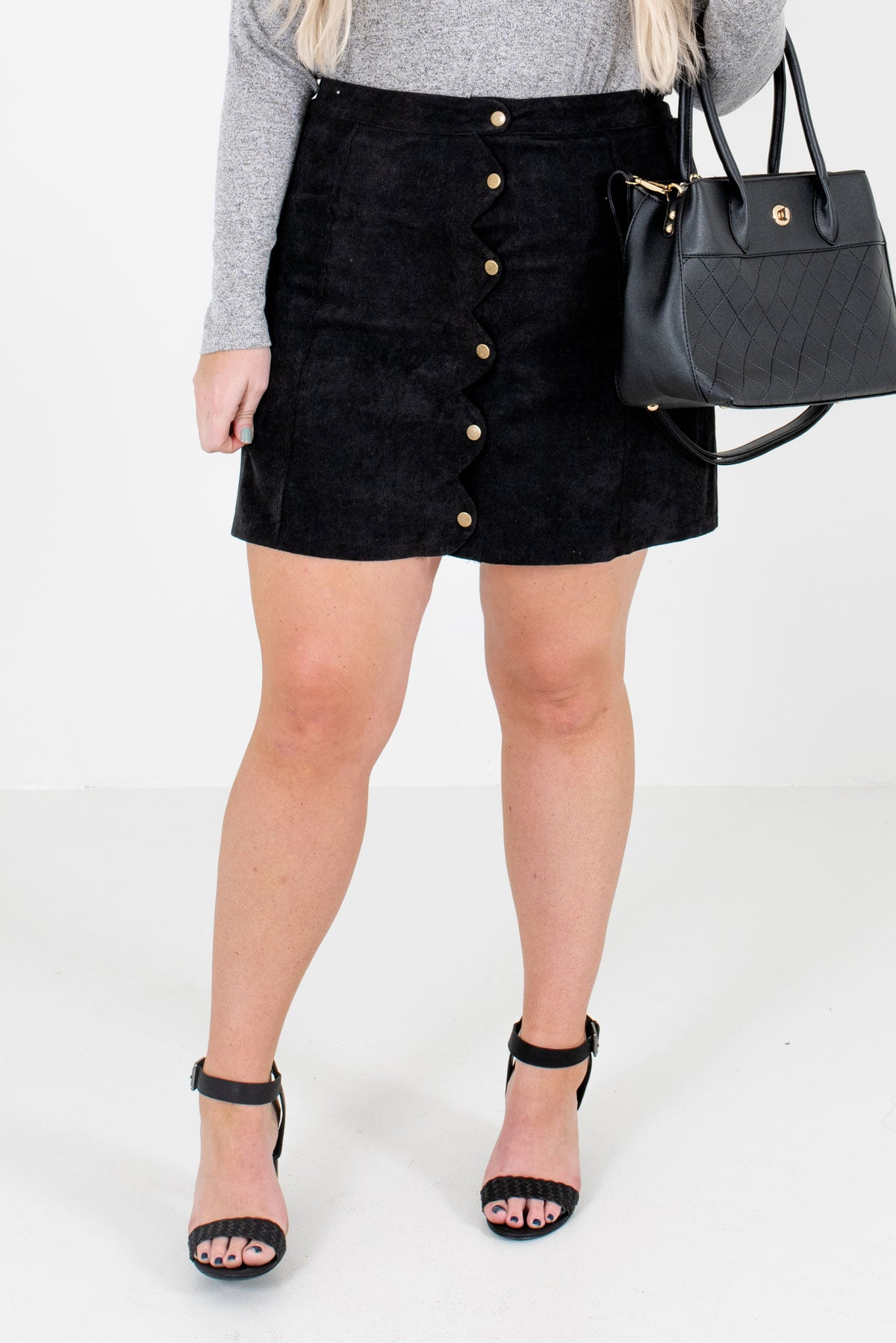 Black High-Quality Corduroy Material Boutique Mini Skirts for Women