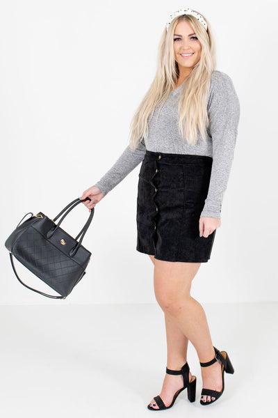 Women's Black Golden Hardware Boutique Mini Skirt