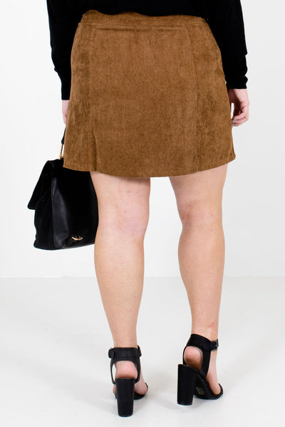 Women's Brown Scalloped Button-Up Front Boutique Mini Skirt