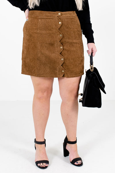 Brown High-Quality Corduroy Material Boutique Mini Skirts for Women