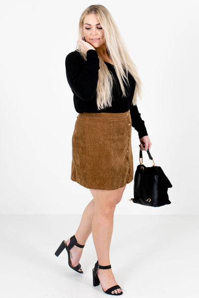 Brown Cute and Comfortable Boutique Mini Skirts for Women