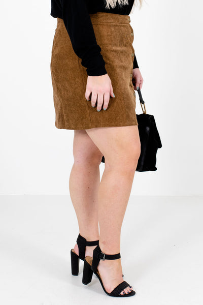 Brown Fully Lined Boutique Mini Skirts for Women