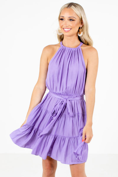 Purple Cute and Comfortable Boutqiue Mini Dresses for Women