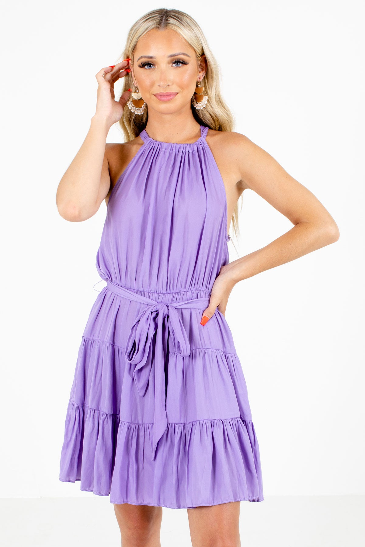 Purple Halter Style Neckline Boutique Mini Dresses for Women