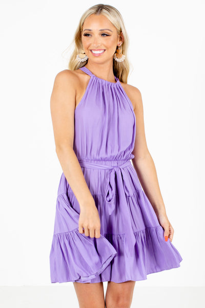 Women's Purple Elastic Waistband Boutique Mini Dress