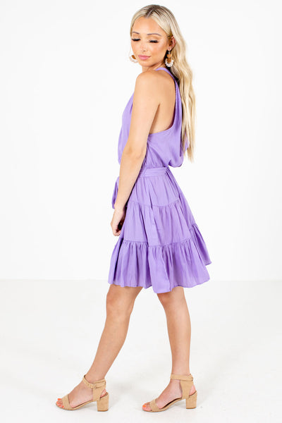 Purple Waist Tie Detail Boutique Mini Dresses for Women