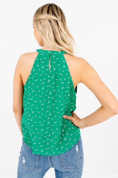 Women's Green Keyhole Back Style Boutique Tank Tops