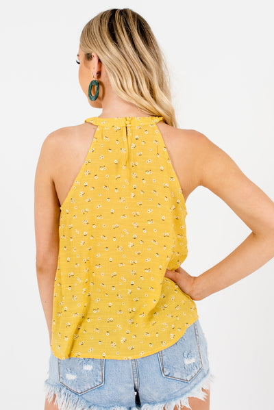 Women's Yellow Keyhole Style Back Boutique Tank Tops