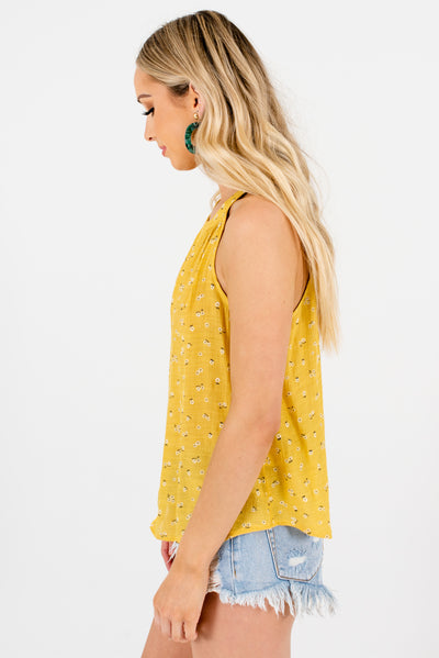 Yellow Floral Halter Style Boutique Tank Tops for Women