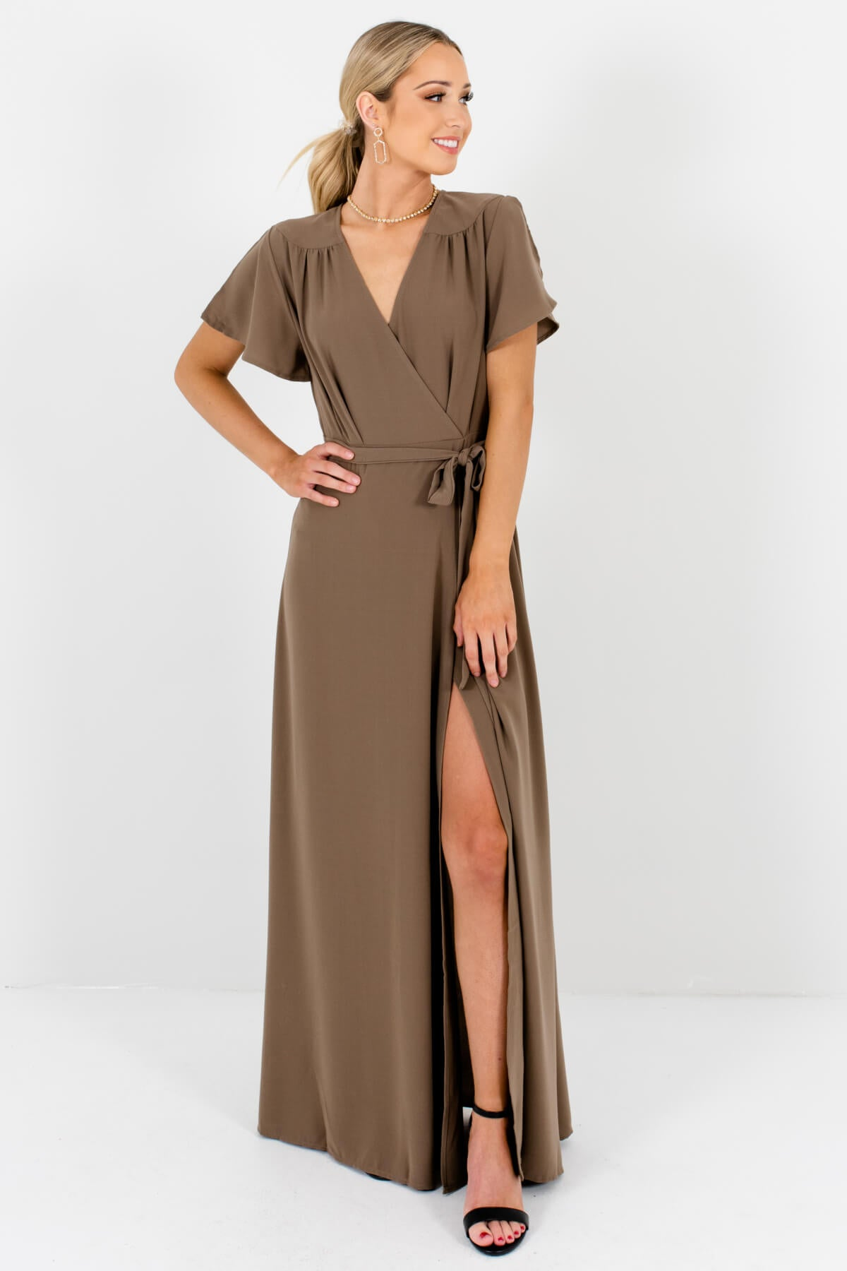 Brown Faux Wrap Style Boutique Maxi Dresses for Women