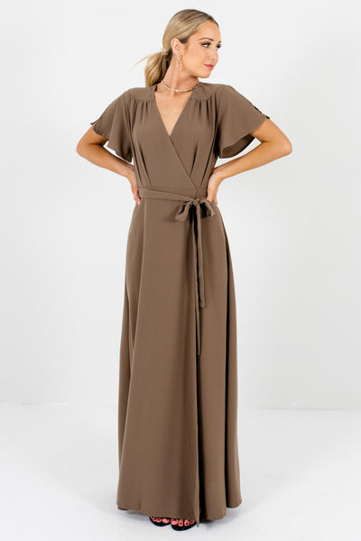 Brown Waist Tie Detail Boutique Maxi Dresses for Women