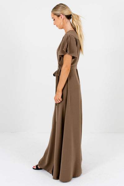 Women's Brown V-Neckline Boutique Maxi Dress