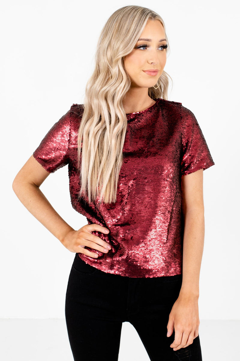 Merry & Bright Burgundy Sequin Top