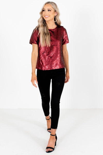 Women's Burgundy New Years Eve Outfit Boutique Top