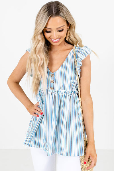 Blue Multi Striped Pattern Boutique Tops for Women