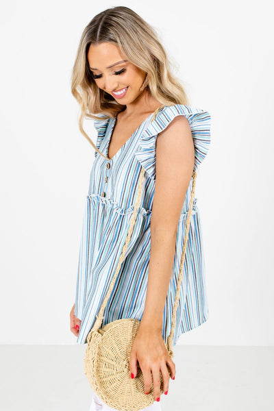 Blue Decorative Button Boutique Tops for Women