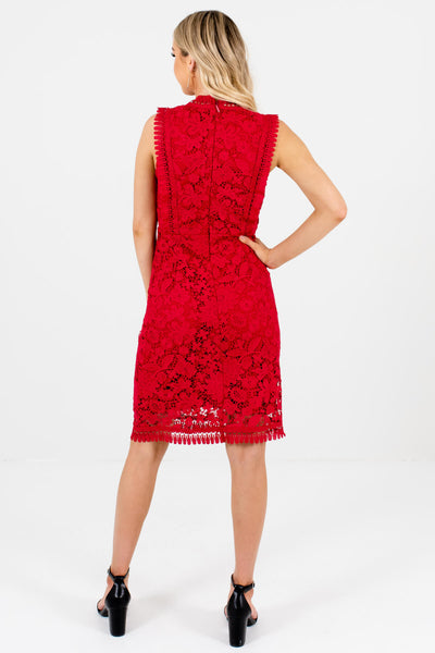 Women's Red Crochet Lace Overlay Boutique Knee-Length Dress