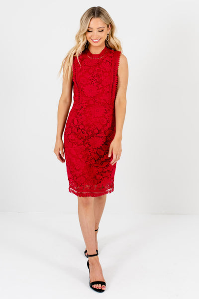 Red Cute and Comfortable Boutique Knee-Length Dresses for Women