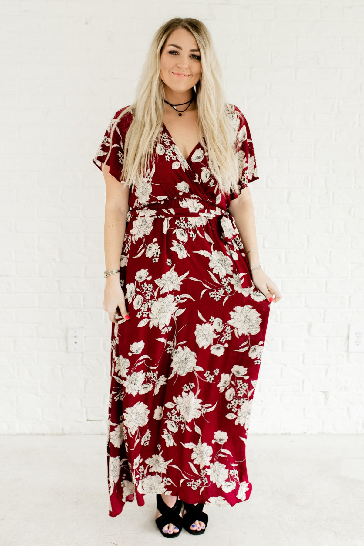 Midnight Bloom Wine Purple Floral Maxi Dress | Boutique Dress